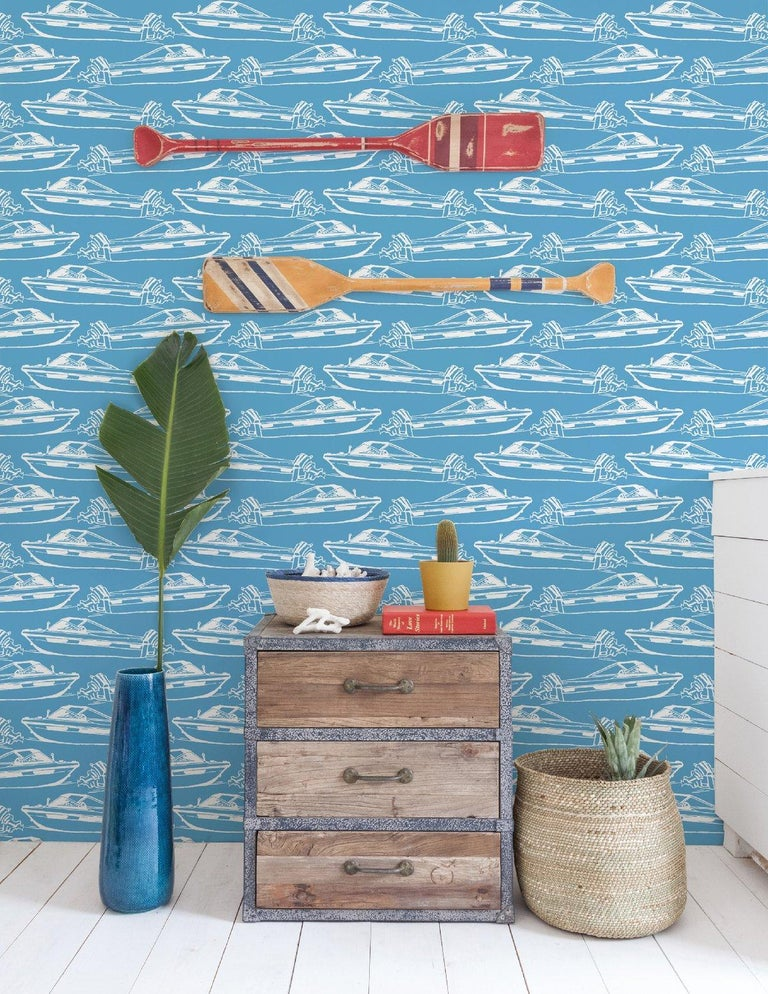 American Boating Designer Wallpaper in Pool 'Sky Blue and White' For Sale