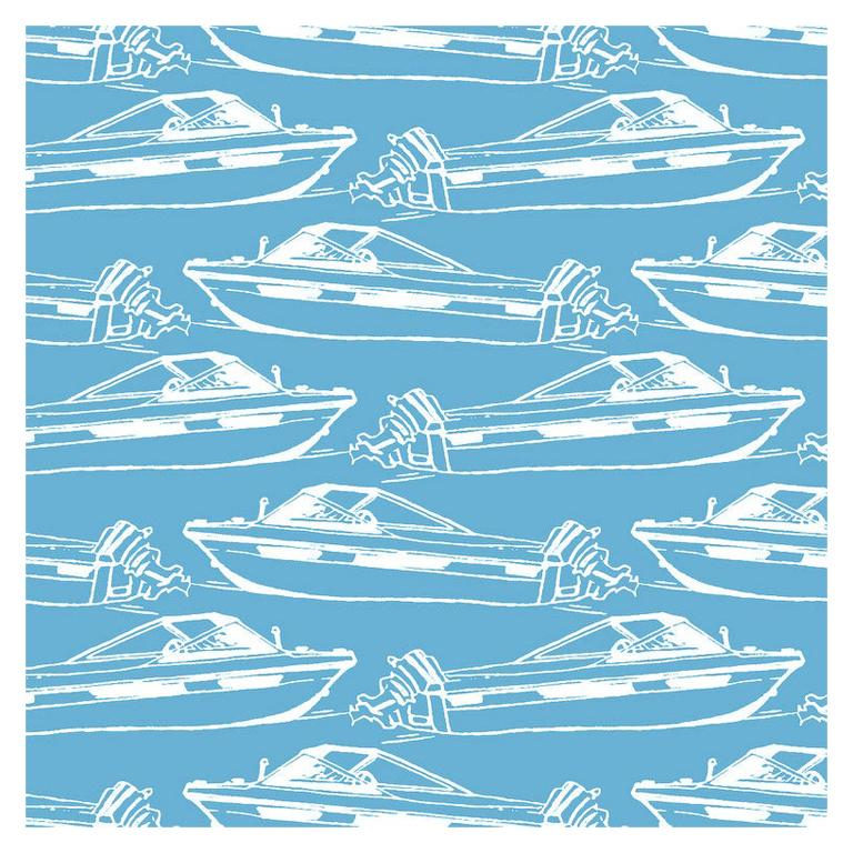 Boating Designer Wallpaper in Pool 'Sky Blue and White' For Sale