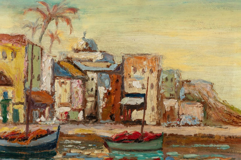 Vintage Mediterranean seaside oil on board painting. French or English. No signature.