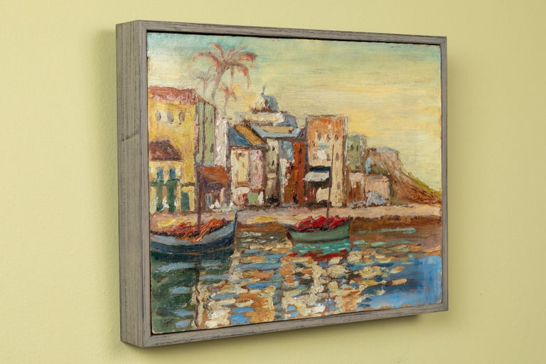 Boats and Buildings Painting In Good Condition For Sale In Los Angeles, CA