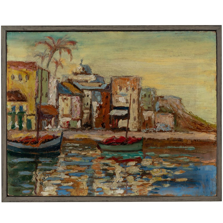 Boats and Buildings Painting For Sale
