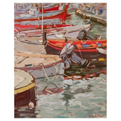 """""""Boats in The Port of Camogli"""" Italian Painting"""
