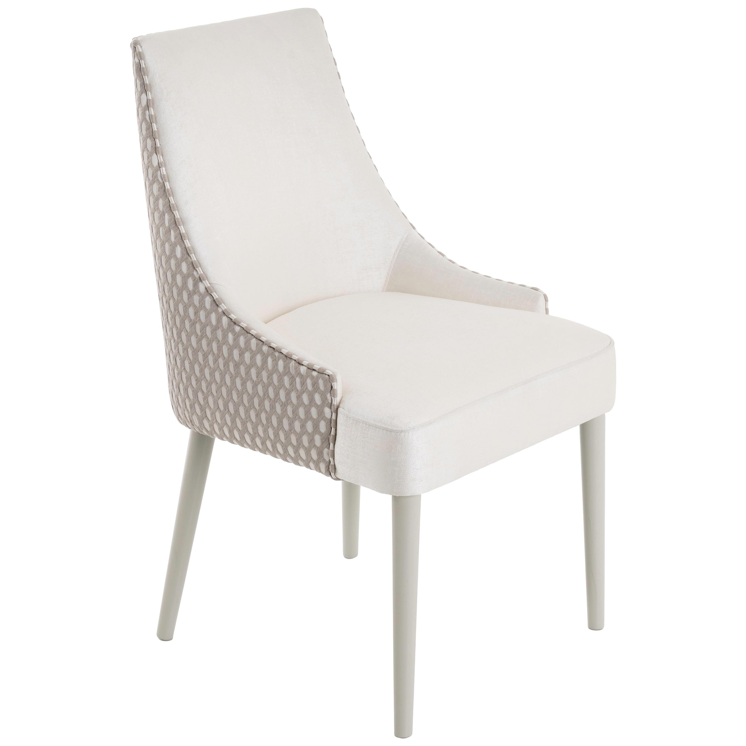 Boavista Dining Chair Upholstered with Two Fabrics and Glossy Lacquered Legs