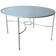 Bob Anderson Enameled in White Wrought Iron and Round Glass Patio Dining Table