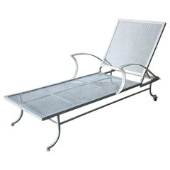 Bob Anderson Newly Enameled Off-White Wrought Iron Patio / Garden Chaise Lounge