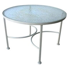 Bob Anderson Newly Enameled White Wrought Iron and Round Glass Patio Side Table