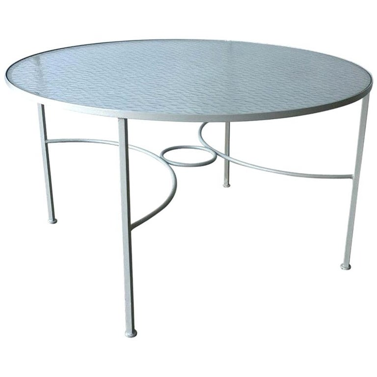 Bob Anderson Refinished in Almond White Wrought Iron & Glass Patio Dining Table For Sale