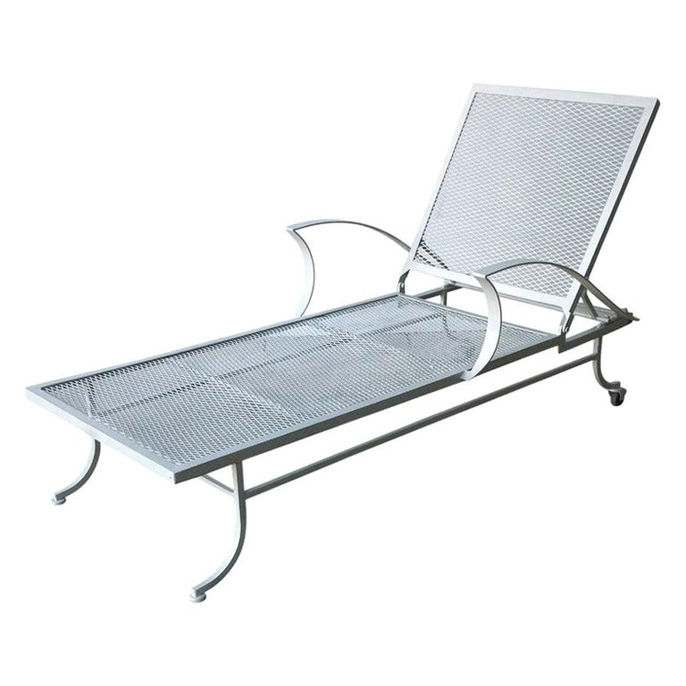 Bob Anderson Refinished Wrought Iron Chaise Lounge in Almond White For Sale