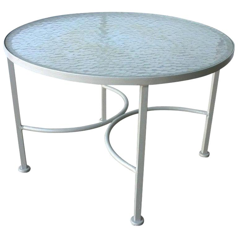 Bob Anderson Refinished Wrought Iron in Almond White and Glass Patio Side Table For Sale