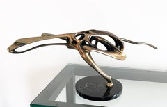 "Robert Bennett, ""Cheetah"", bronze sculpture on black marble base"