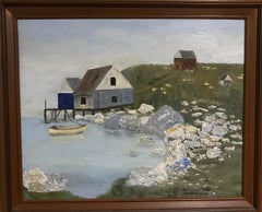 Oil on Canvas -- Yellow Boat at Low Tide