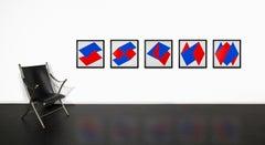 """Portfolio IV"" 5 prints in Series, Dutch Constructivist, Geometric Red & Blue"