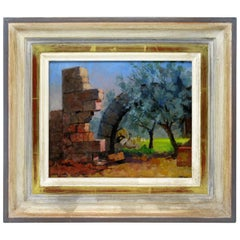 Bob Brown Contemporary Oil Painting on Board Ruin Arch in Syria Gilt Frame