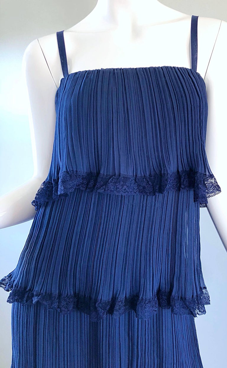 Bob Bugnand 1960s Large Navy Blue Silk Chiffon Tiered 60s Vintage Evening Gown  In Excellent Condition For Sale In Chicago, IL