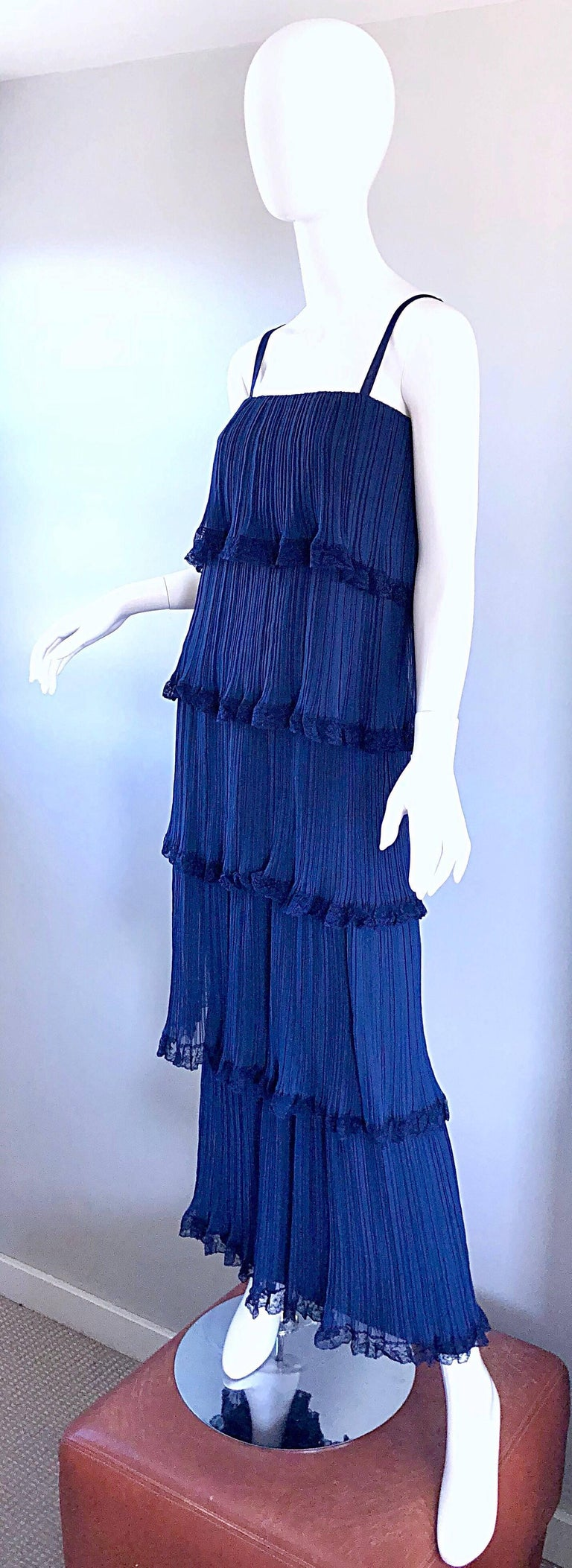Women's Bob Bugnand 1960s Large Navy Blue Silk Chiffon Tiered 60s Vintage Evening Gown  For Sale