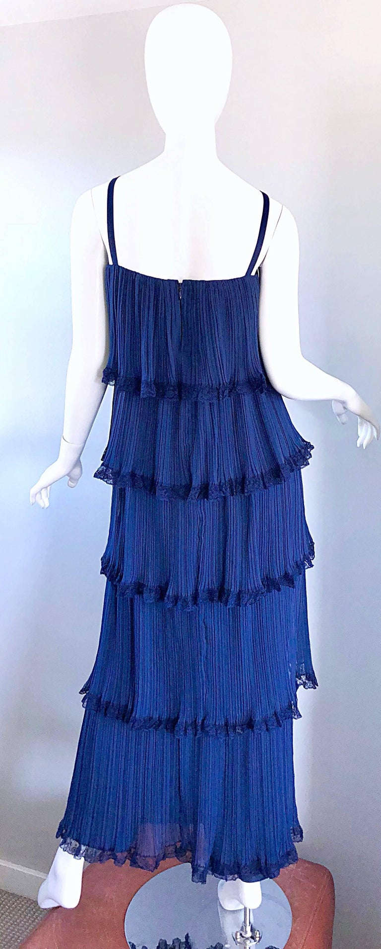 Bob Bugnand 1960s Large Navy Blue Silk Chiffon Tiered 60s Vintage Evening Gown  For Sale 1