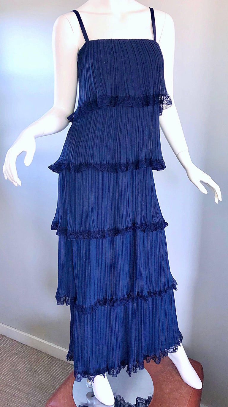 Bob Bugnand 1960s Large Navy Blue Silk Chiffon Tiered 60s Vintage Evening Gown  For Sale 2
