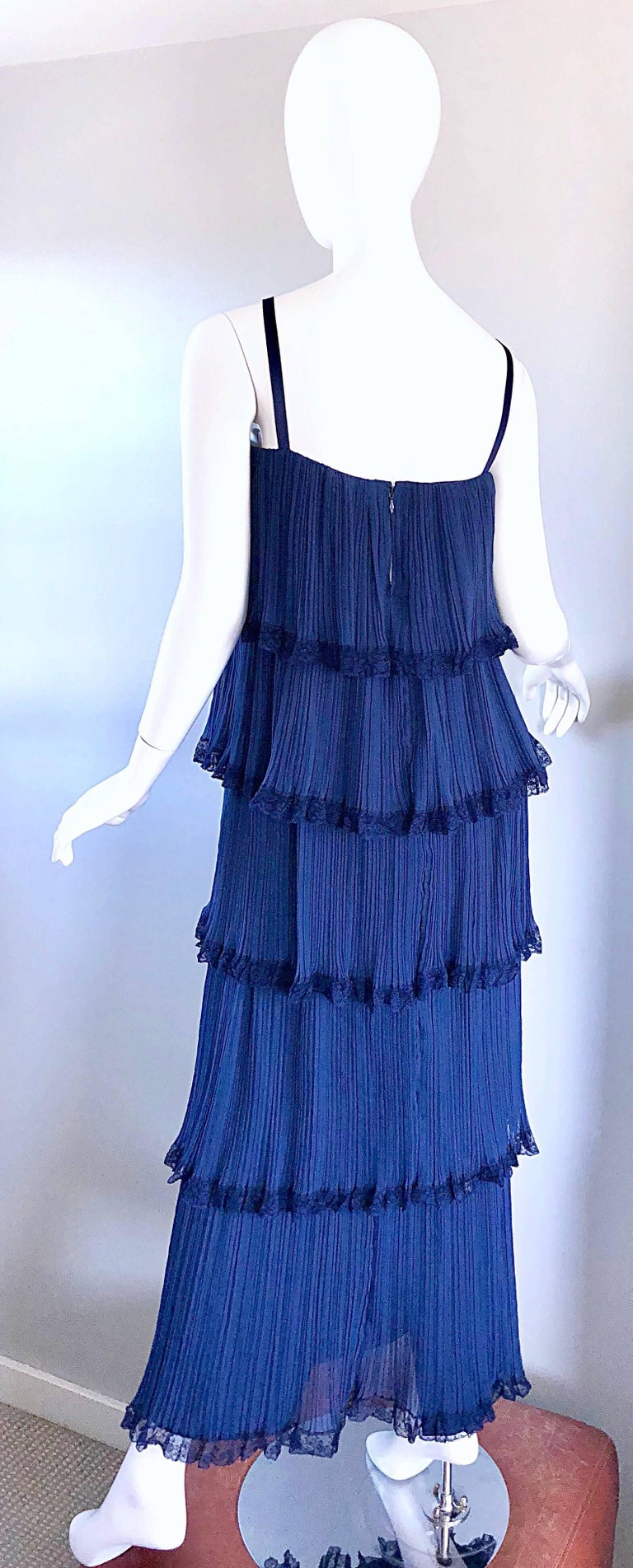 Bob Bugnand 1960s Large Navy Blue Silk Chiffon Tiered 60s Vintage Evening Gown  For Sale 3