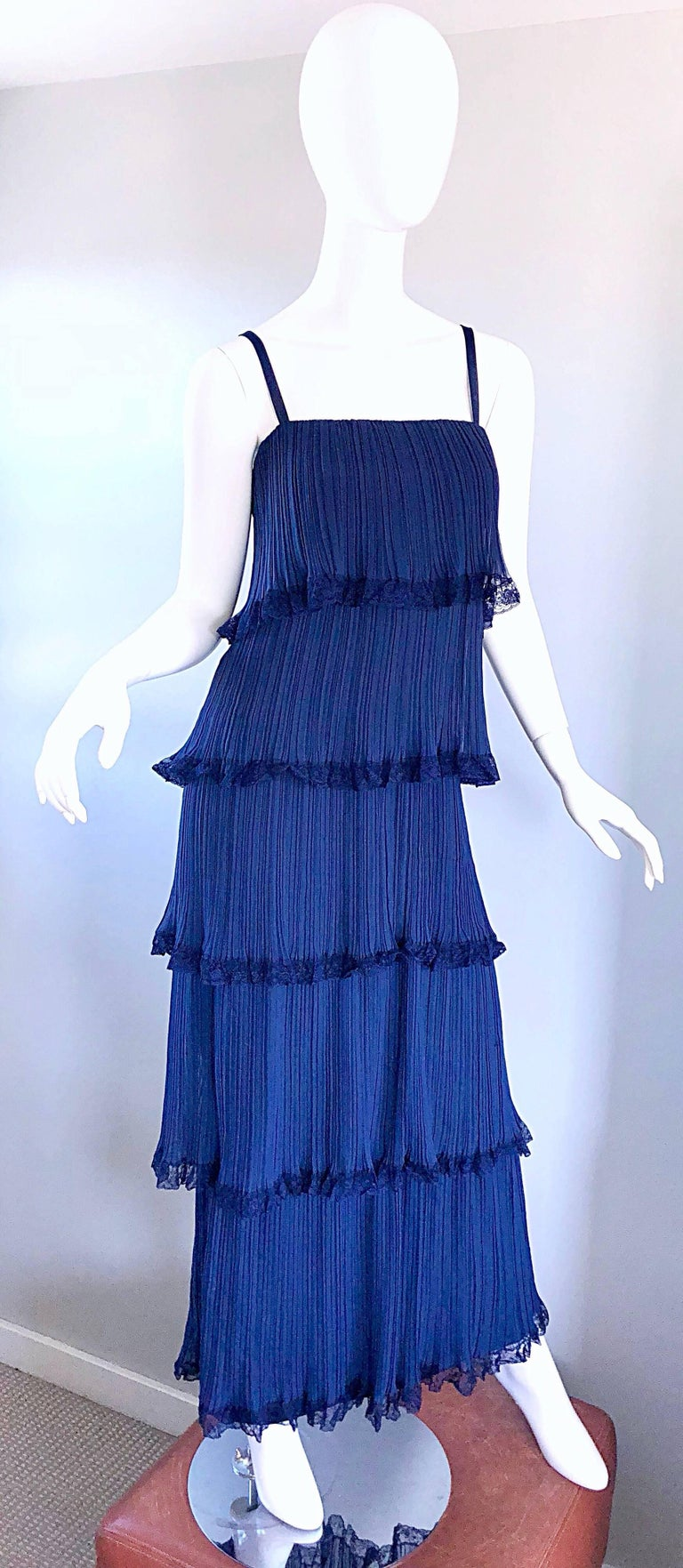 Bob Bugnand 1960s Large Navy Blue Silk Chiffon Tiered 60s Vintage Evening Gown  For Sale 4
