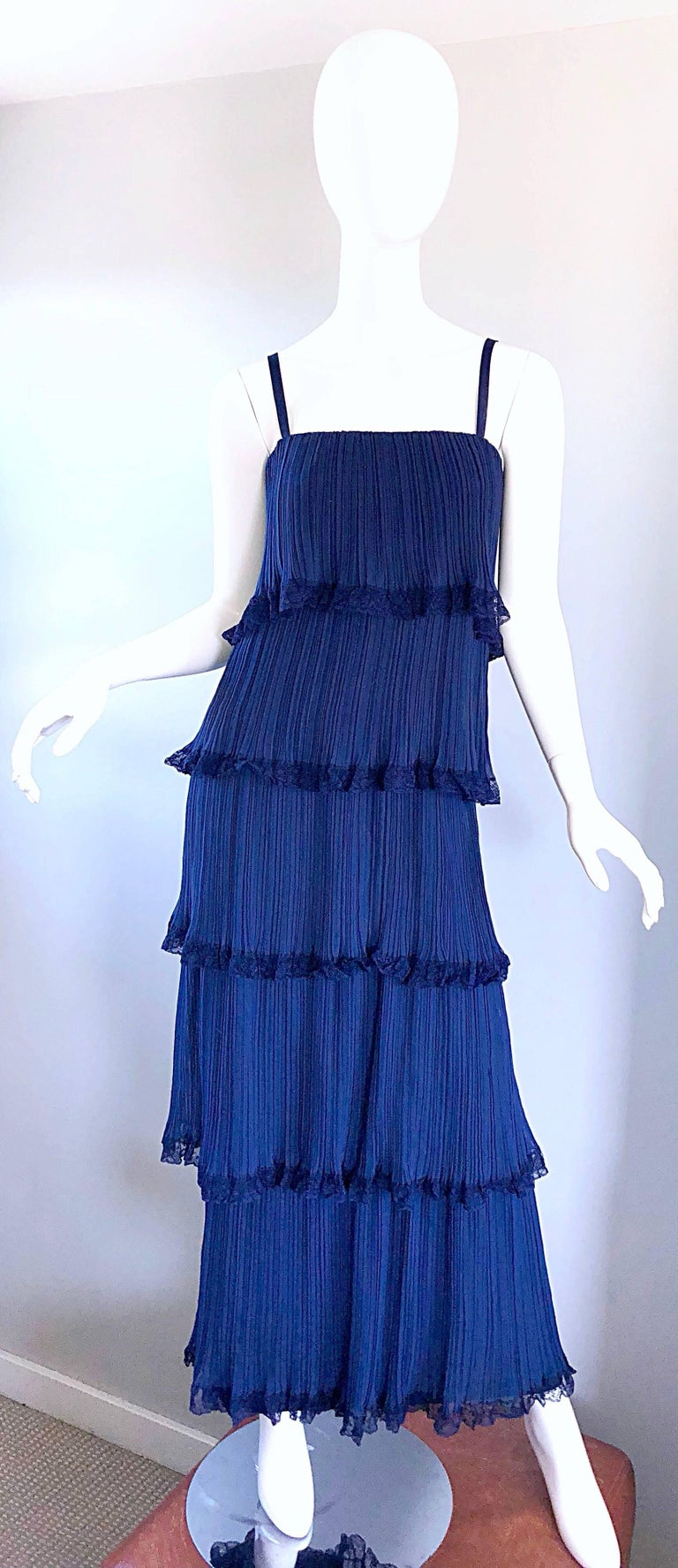 Bob Bugnand 1960s Large Navy Blue Silk Chiffon Tiered 60s Vintage Evening Gown  For Sale 5
