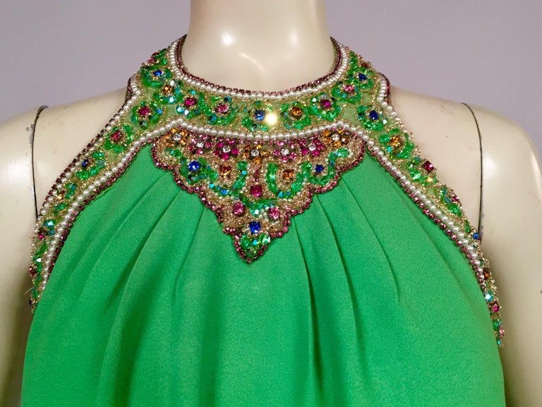 Bob Bugnand Spring Green Jeweled Halter Neck Silk Crepe Dress circa 1970 In Excellent Condition For Sale In New Hope, PA
