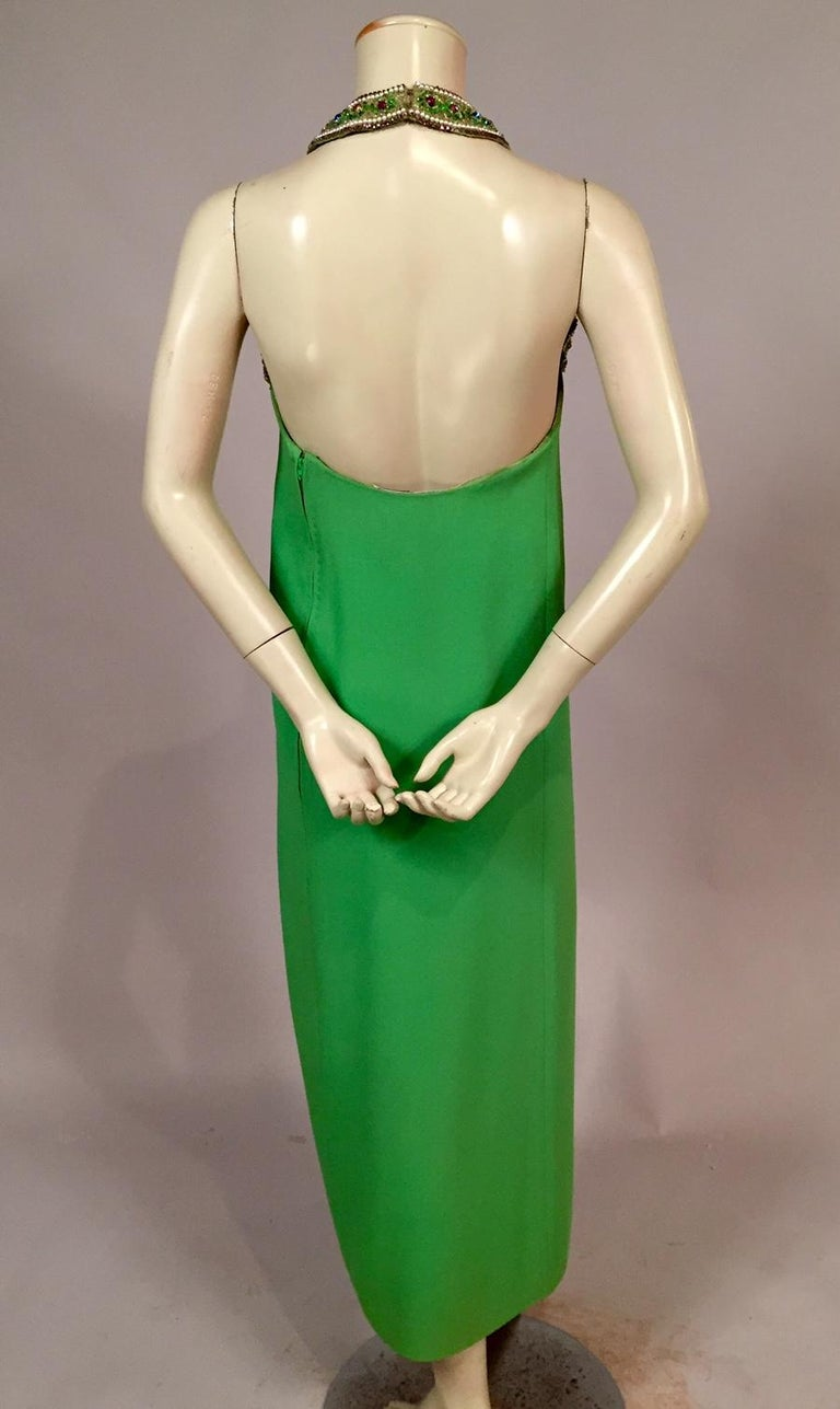 Bob Bugnand Spring Green Jeweled Halter Neck Silk Crepe Dress circa 1970 For Sale 2