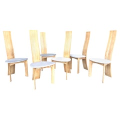 Bob & Dries Van Den Bergh 6 Cerused Oak Danish Modern Dining Chairs