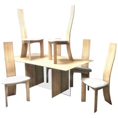 Bob & Dries Van Den Bergh Bleached Cerrused Oak Dining Set, Table and 6 Chairs