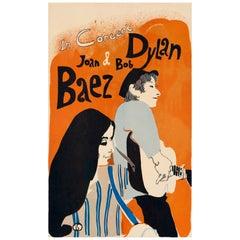 Bob Dylan & Joan Baez Original Vintage US Tour Poster by Eric Von Schmidt, 1965