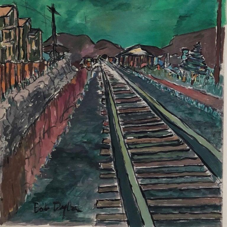 Train Tracks - Black Landscape Print by Bob Dylan