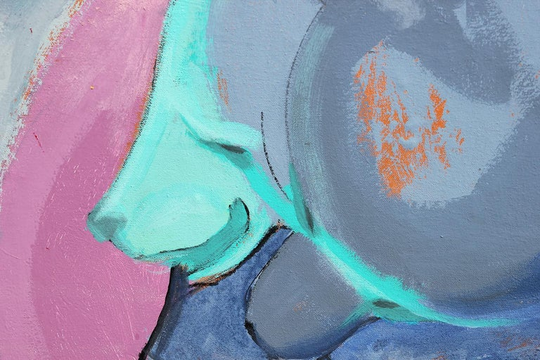 Colorful Pink, Purple, and Blue Contemporary Abstract Animal Painting For Sale 7