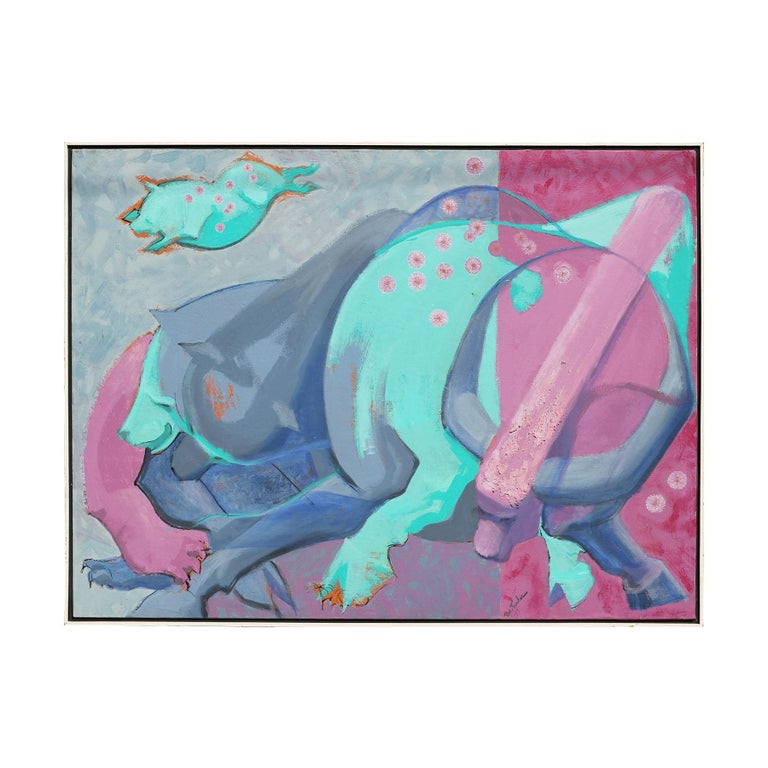 Colorful Pink, Purple, and Blue Contemporary Abstract Animal Painting - Gray Abstract Painting by Bob Fowler