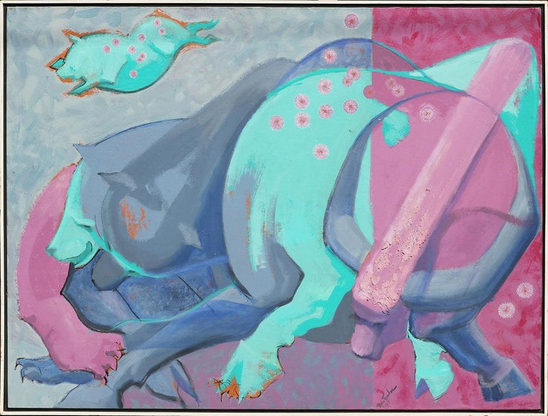 Pink, purple, and blue modern abstract animal painting by Texas artist Bob Fowler. The piece features a colorful abstracted animal, possibly a pig, against a divided pink and purple background. The work is signed and dated in front lower right