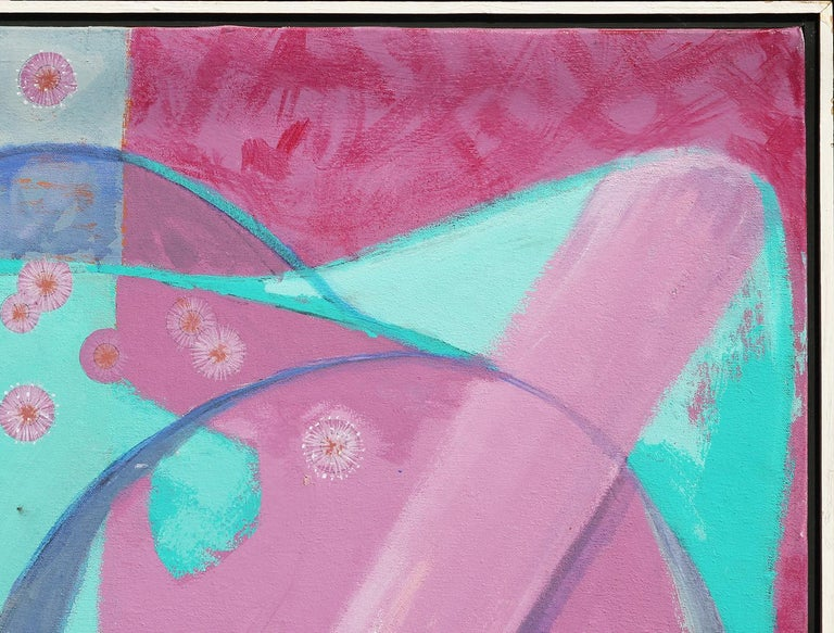 Colorful Pink, Purple, and Blue Contemporary Abstract Animal Painting For Sale 2