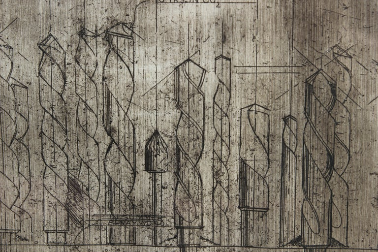 Industrial Mixed Media Artist Proof Print - Gray Landscape Print by Bob Fowler