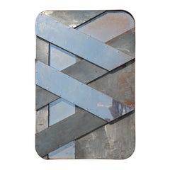 """Frozen Totem"" Modern Geometric Abstract Metal Wall Sculpture"