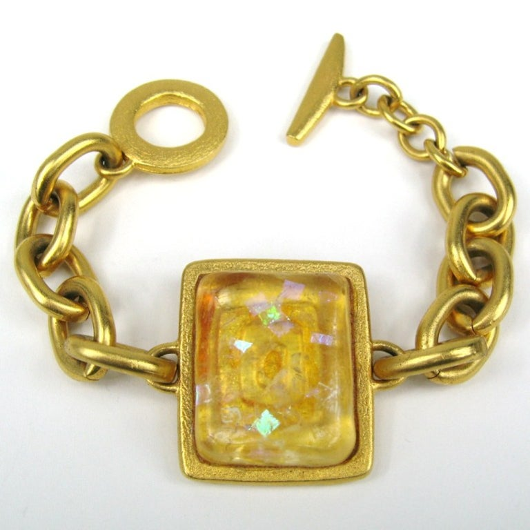 Bob House Gold Speckle Glass Bracelet & Earrings set In New Condition For Sale In Wallkill, NY