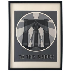 "Bob Indiana Black, White and Gray Serigraph ""The Bridge from the American Dream"""