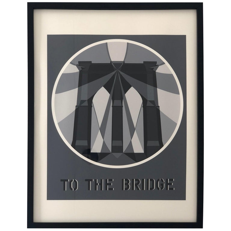 "Bob Indiana Black, White and Gray Serigraph ""The Bridge from the American Dream"" For Sale"