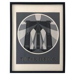 "Bob Indiana Black, White and Gray Serigraph ""The Bridge from the American Dream"""