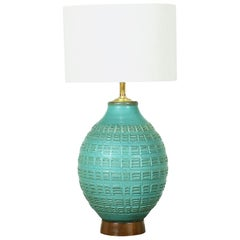 "Bob Kinzie ""N-Series"" Glazed Teal Ceramic Table Lamp for Affiliated Craftsmen"