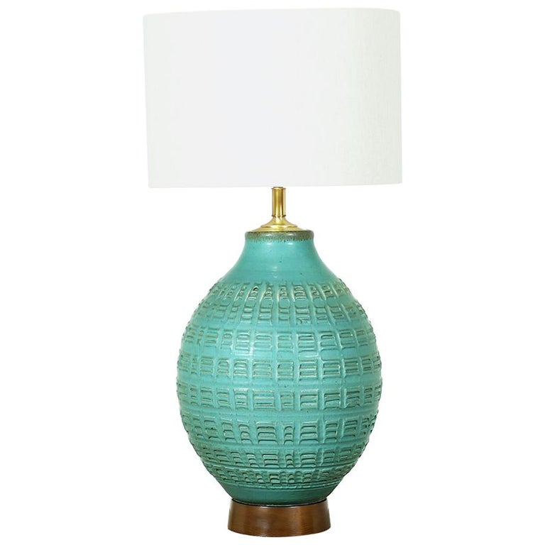 Bob Kinzie N Series Glazed Teal Ceramic Table Lamp For Affiliated