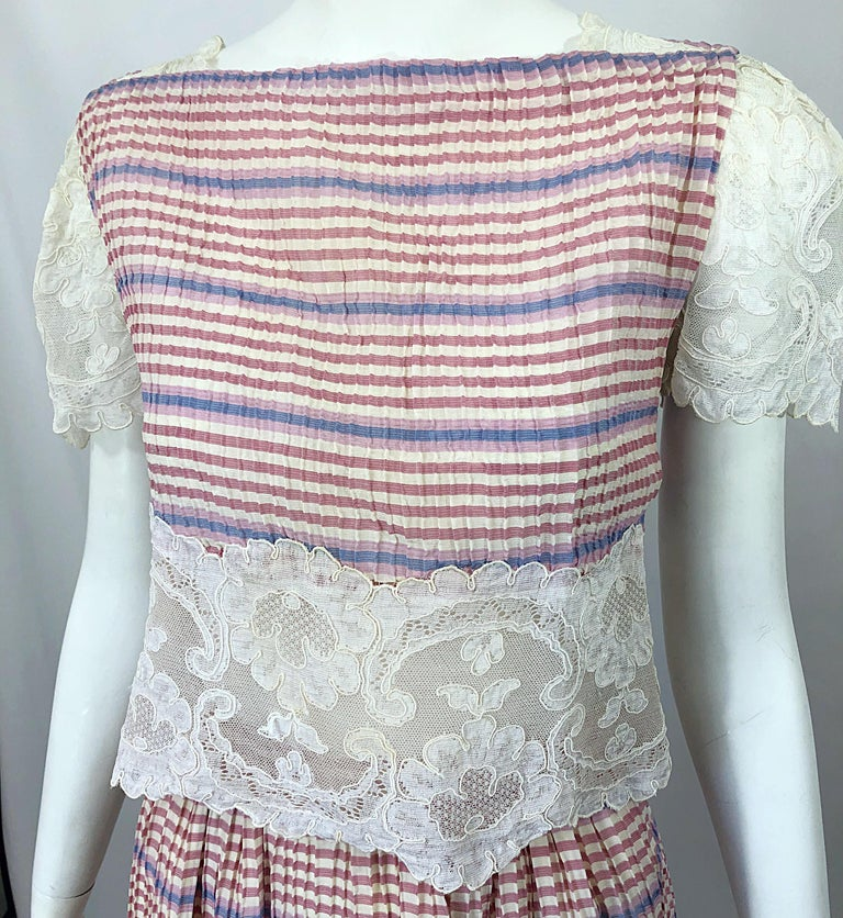 Bob Mackie 1970s Stripes Size 4 Silk + Lace Vintage 70s Crop Top and Skirt Dress For Sale 6