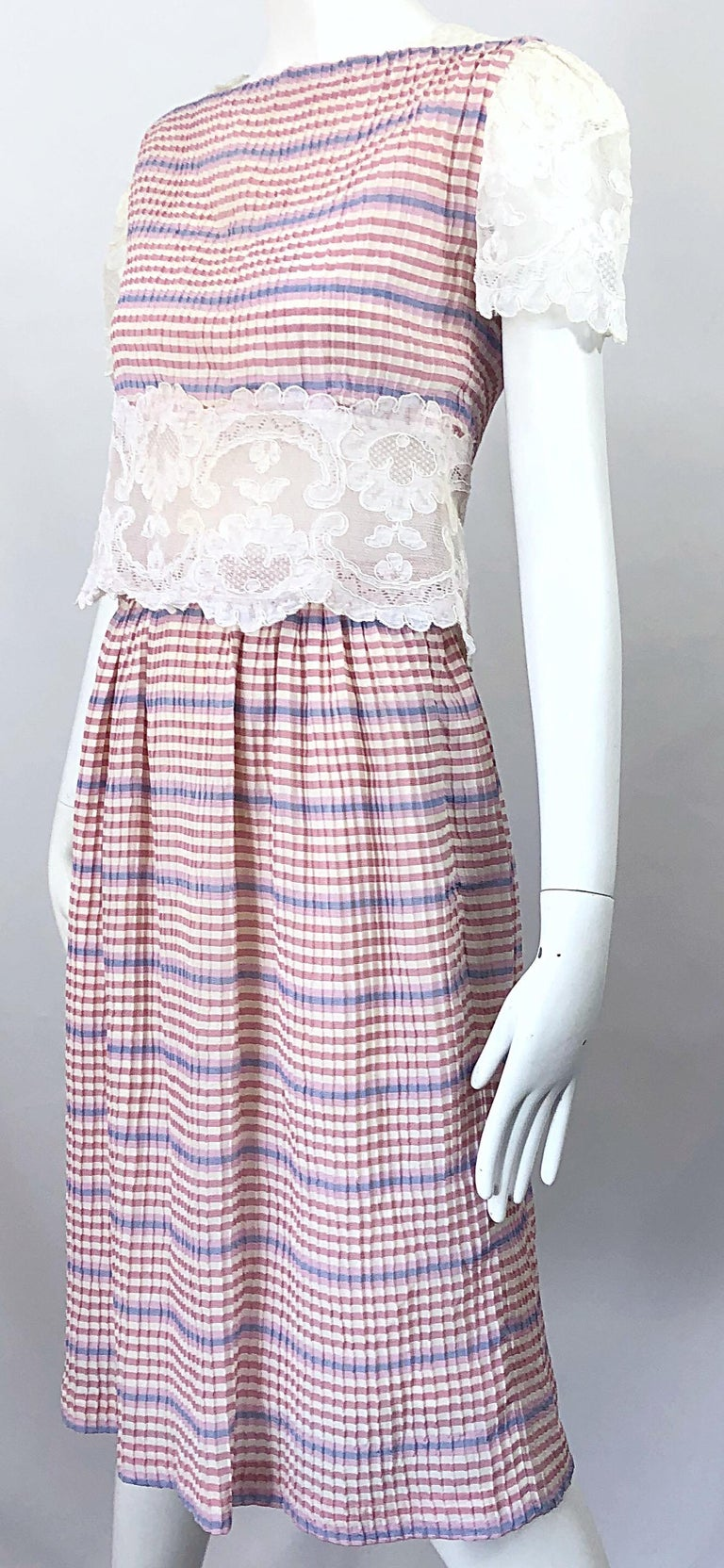 Bob Mackie 1970s Stripes Size 4 Silk + Lace Vintage 70s Crop Top and Skirt Dress For Sale 7