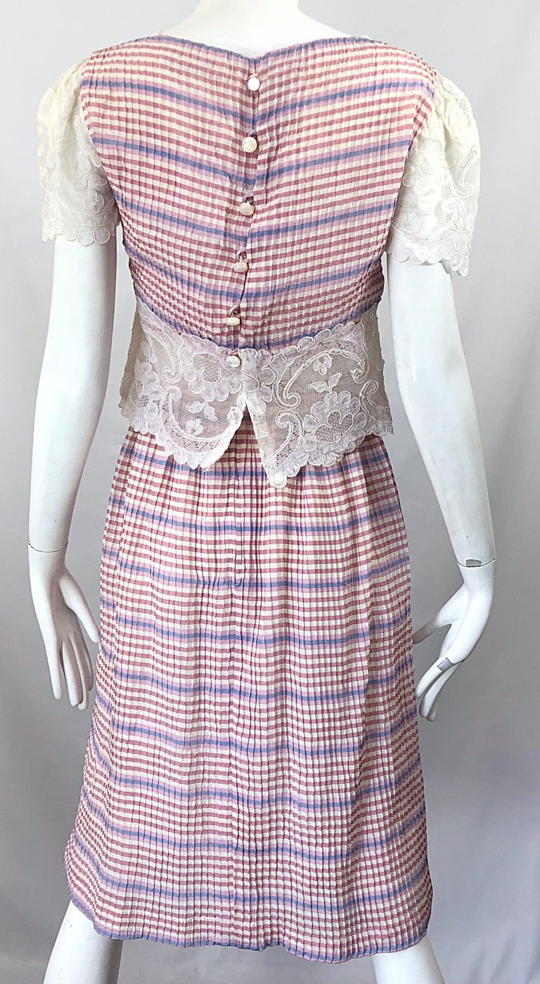 Bob Mackie 1970s Stripes Size 4 Silk + Lace Vintage 70s Crop Top and Skirt Dress For Sale 8