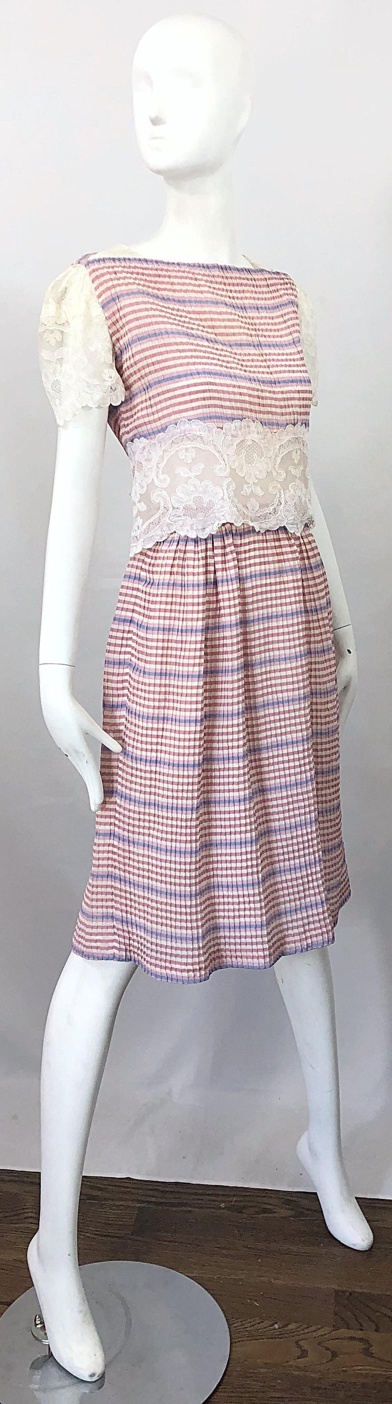 Bob Mackie 1970s Stripes Size 4 Silk + Lace Vintage 70s Crop Top and Skirt Dress For Sale 9