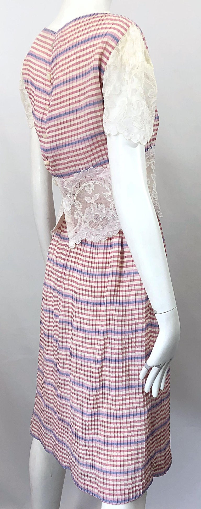 Bob Mackie 1970s Stripes Size 4 Silk + Lace Vintage 70s Crop Top and Skirt Dress For Sale 10