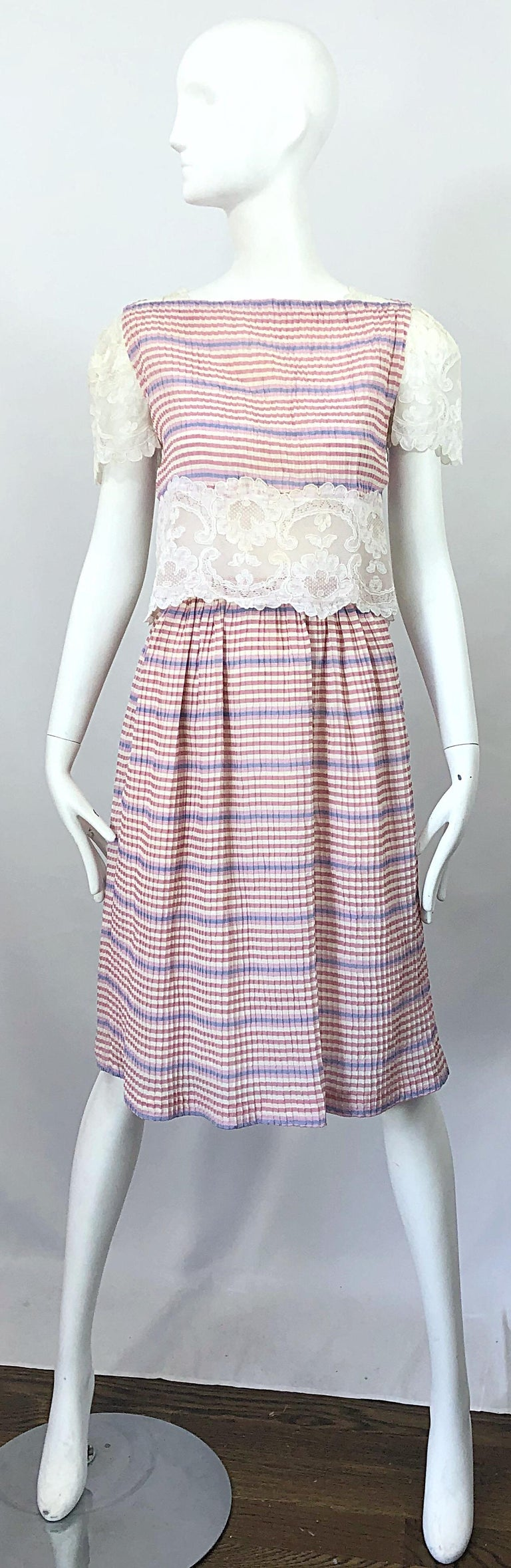 Bob Mackie 1970s Stripes Size 4 Silk + Lace Vintage 70s Crop Top and Skirt Dress For Sale 12
