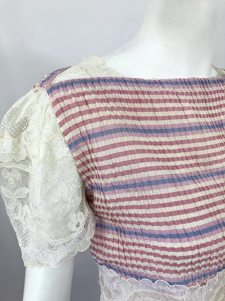 Bob Mackie 1970s Stripes Size 4 Silk + Lace Vintage 70s Crop Top and Skirt Dress In Excellent Condition For Sale In Chicago, IL