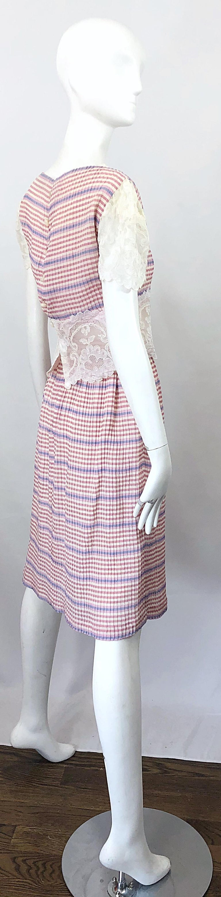 Women's Bob Mackie 1970s Stripes Size 4 Silk + Lace Vintage 70s Crop Top and Skirt Dress For Sale